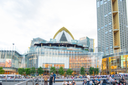 BANGKOK, THAILAND - 21 JUL 2019: Tourist to see View of the Siam icon on the river Icon Siam is a new shopping center and a landmark in Bangkok,Thailand