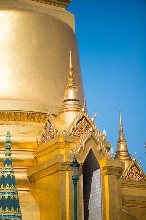 Details of pagoda building in Wat Phra Kaew, Temple of the Emerald Buddha, Bangkok, Thailand.