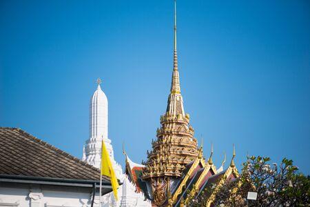 Bangkok, Thailand : 2019, December 5 :Details of building in Wat Phra Kaew, Temple of the Emerald Buddha, Bangkok, Thailand.