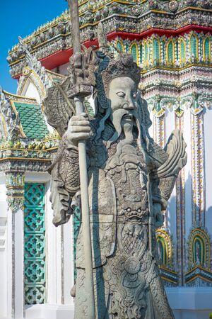 Chinese Warrior Sculpture in Wat Phra Chettuphon Wimon Mangkhalaram (Wat pho), Bangkok, Thailand 写真素材