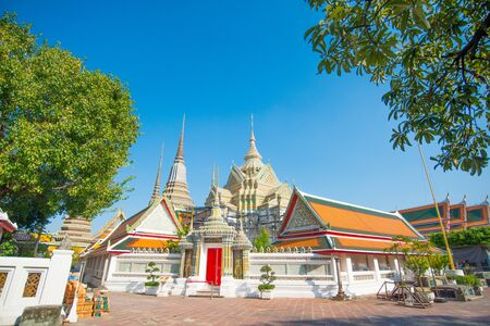 Pagoda and Church in Wat  Phra Chettuphon Wimon Mangkhalaram (Wat pho), Bangkok, Thailand