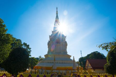 Pagoda of Wat Phra That Bang Phuan is the old temple in Nongkhai of Thailand