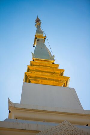 Closed up detail pagoda of Wat Phra That Bang Phuan is the old temple in Nongkhai of Thailand