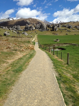 outbound: Long road with Mountain view at Castle Hill in New Zealand