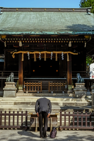 japanese man respect  the japan temple