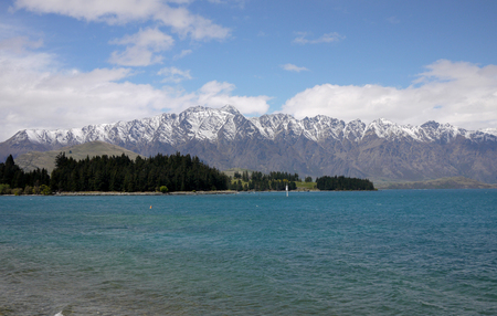 wakatipu: The Remarkables, Wakatipu lake,Queenstown,New Zealand Stock Photo