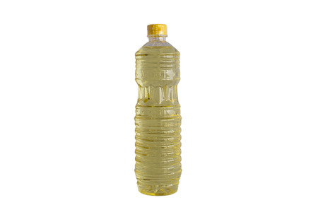 bottle of vegetable oil on white isolated background (with clipping mask)