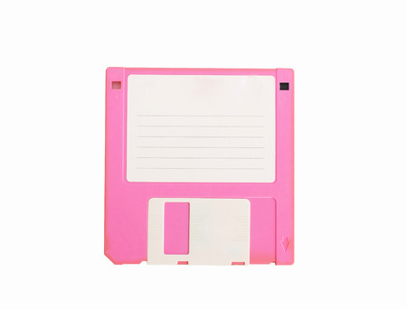 pink diskette on  white isolate