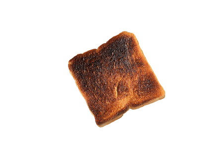 Burnt toast on white backround with clipping mask Reklamní fotografie
