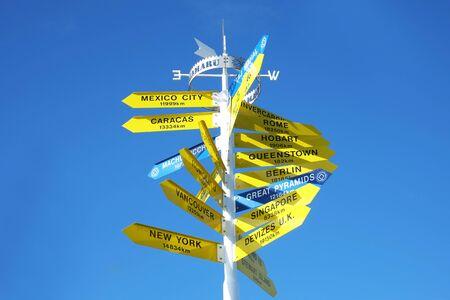 sign post at Oamaru, Waitaki , South Island of New Zealand