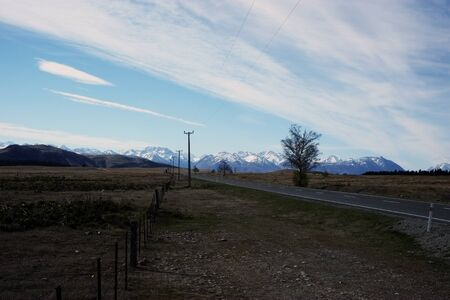 mountain and road, South Island of New Zealand
