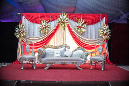 Decorative wedding events in Asia, elegant and fancy furniture, wedding setup and decoration, round table arrangements for wedding