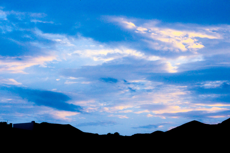 blue purple sky in starry night over mountains morning at the european alps Muscat oman Stock Photo