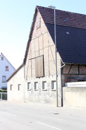 Traditional House hut in Markgröningen Stuttgart Village Germany near bus stop and street
