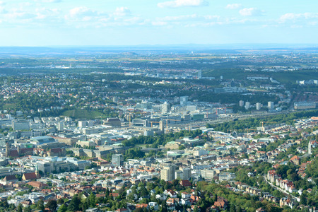 Germany Stuttgart city top view from TV tower jungle and sky on the hills and mountains Lush Tropical Jungle Rainforest Background