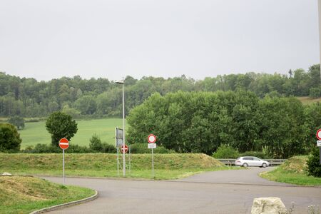 Trees plants grass and greenery in the highway of Rosenheim new autobahn Germany