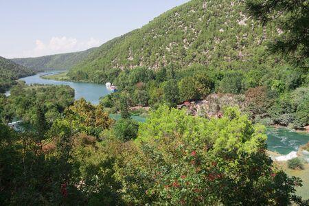 Breathtaking view of the dam of Krka National Park, Sunny day, summer season having greenery and trees, Croatia