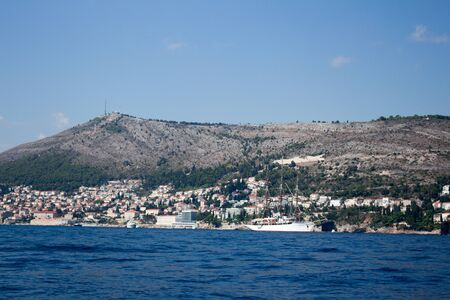 Dubrovnik city and sea view the location of GOT series with blue sea water and clear sky ships