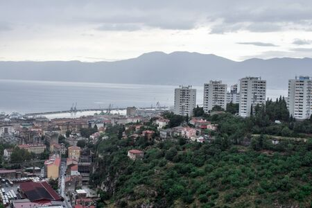Rijeka Croatia city view from the top of the mountain Trsat Fortress rainy day and evening time