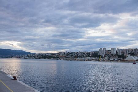 Amazing view of the Rijeka city and sky from the old seaport of Rijeka Croatia evening time Stockfoto