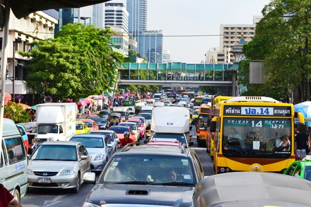 traffic jams in bangkok,thailand