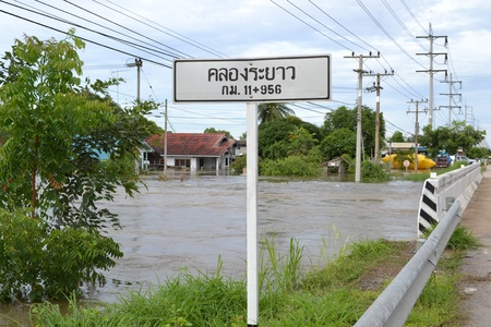 thailand flood: flood in Thailand,Nakhonsawan city Editorial
