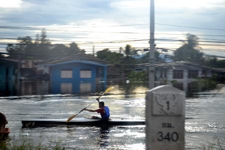 flood in Thailand,Nakhonsawan city Editorial