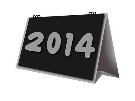 calendario escritorio: calendario de escritorio a�o 2014 en el fondo blanco Foto de archivo