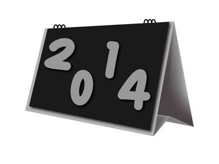 desktop calendar year 2014 on white background photo