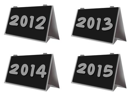 calendario escritorio: calendario de escritorio a�os 2012-2015 en el fondo blanco