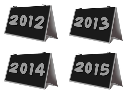 desktop calendar year 2012-2015 on white background