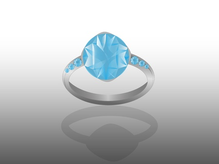 blue diamond ring with a mirror Stock Photo