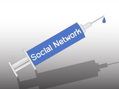 social network on syringe , metaphorical photo