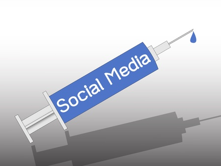 social media on syringe , metaphorical
