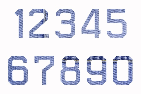 Numbers of jeans on white background (0-9)