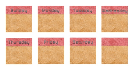 date tags of recycle paper on a white background photo