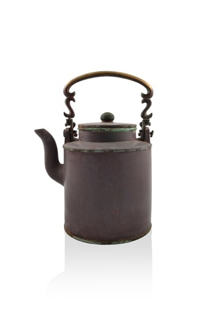 antique brass kettle on a white background Stock Photo