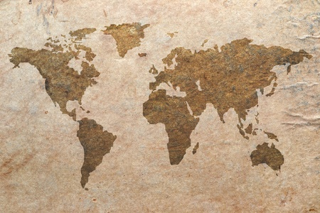 vintage world map: world map on old paper Stock Photo