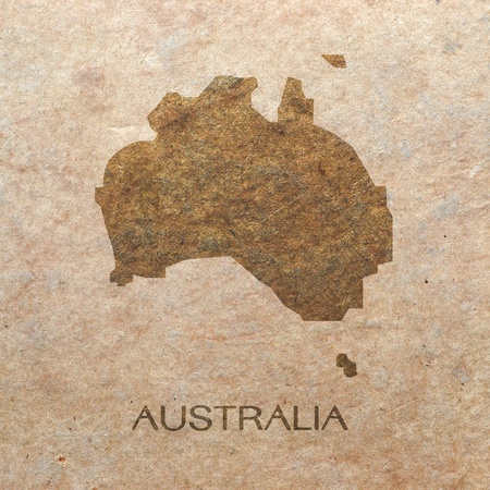 continent of australia on old paper photo