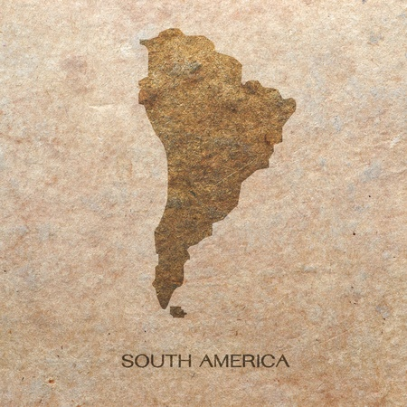 continent of south america on old paper