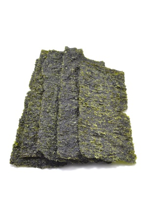 fried seaweed on white background