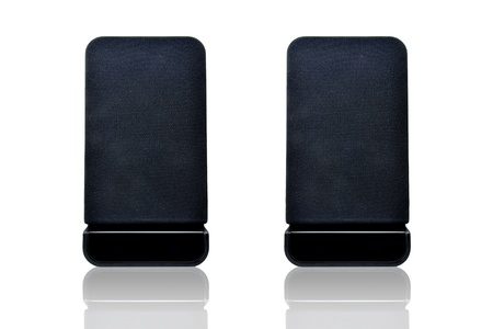black speaker on white background