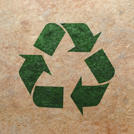 recycling logo: Recycle mark on old paper