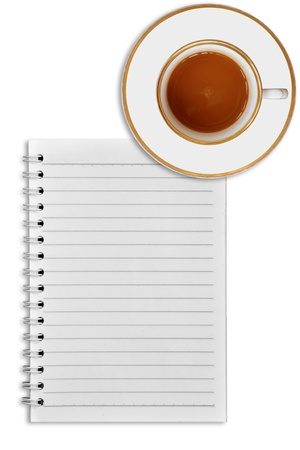 notebook and cup of coffee on white background photo