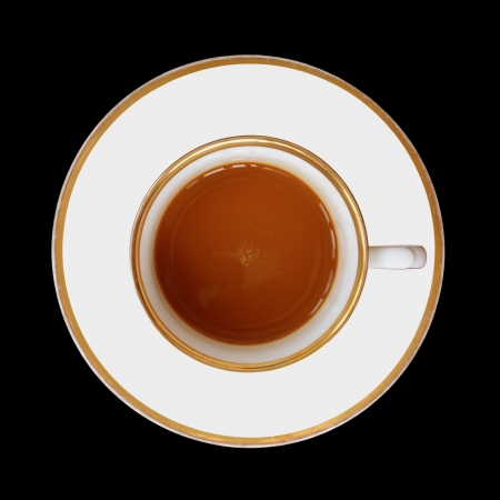 cup of coffee on a black background photo