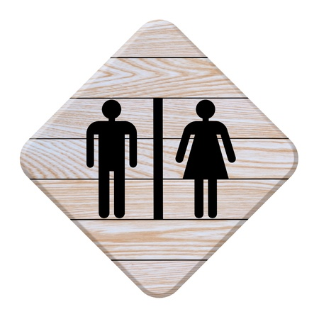 toilet signs made from wood photo