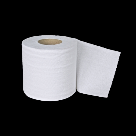 loo: toilet paper on black background