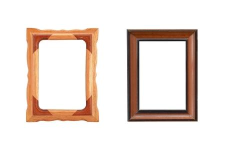 wooden frames on white background