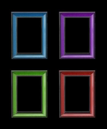 wooden frames on black background photo