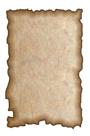 papel quemado: Papel quemado en el fondo blanco